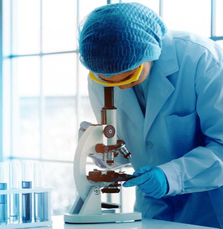 Wissenschaftlerin schaut durch ein Mikroskop