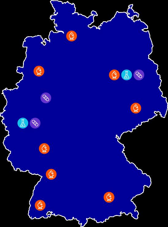 AlleJohnson und Johnson Standorte in Deutschland auf einer Karte angezeigt