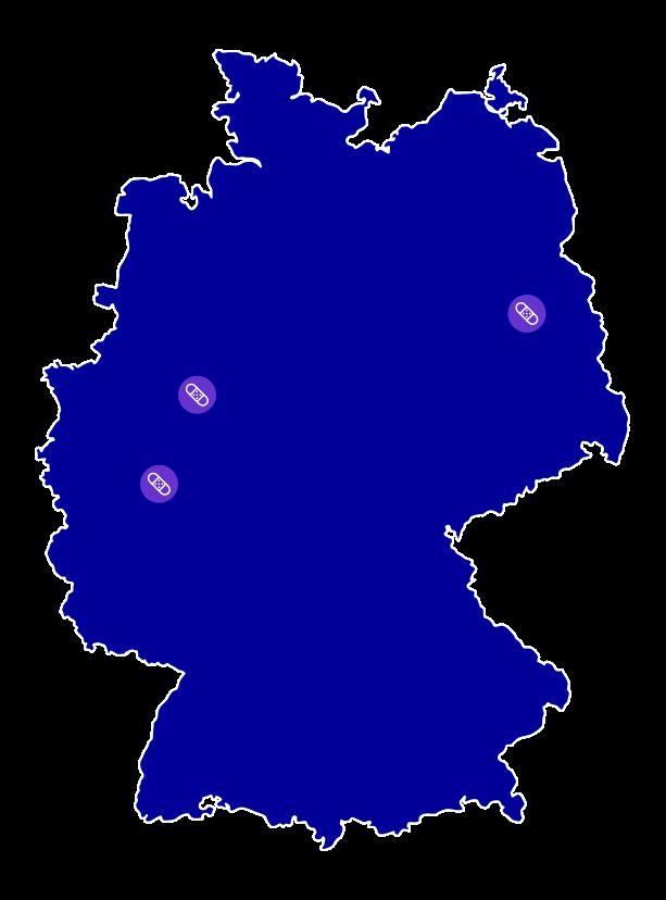 Deutschlandkarte mit den Johnson und Johnson Standorten fuer den Bereich Consumer Health