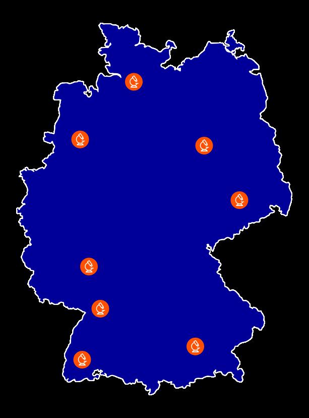 Deutschlandkarte mit den Johnson und Johnson Standorten fuer den Bereich Medical Devices
