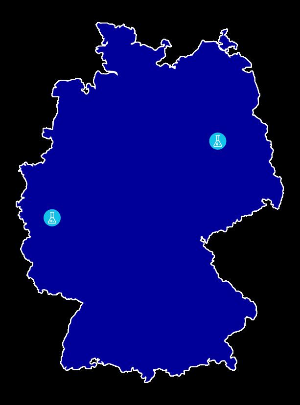 Deutschlandkarte mit den Janssen Pharmaceutical Standorten